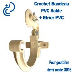 Crochet bandeau PVC Sable + étrier pour gouttière GD16
