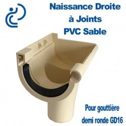 Naissance droite à Joint en PVC Sable pour GD16