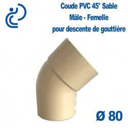 COUDE GOUTTIERE PVC SABLE 45° MF D80