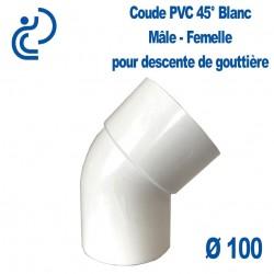 Coude gouttière PVC blanc 45° MF D100