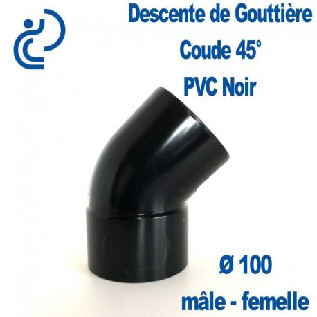 Coude gouttière PVC noir 45° MF D100