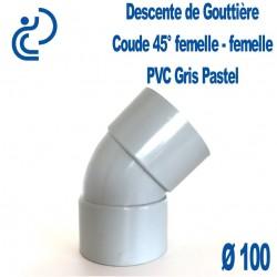 Coude gouttière PVC gris pastel 45° FF D100