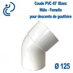 Coude Descente de Gouttière PVC Blanc 45° MF D125