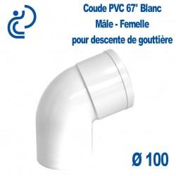 Coude gouttière PVC blanc 67° MF D100