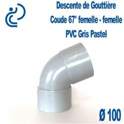 Coude gouttière PVC gris pastel 67° FF D100