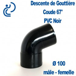 Coude gouttière PVC noir 67° MF D100