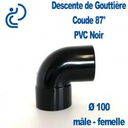 Coude gouttière PVC noir 87° MF D100