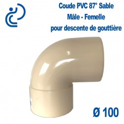 COUDE GOUTTIERE PVC SABLE 87° MF D100