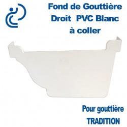 FOND DE GOUTTIERE DROIT A COLLER EN PVC BLANC POUR GOUTTIERE TRADITION