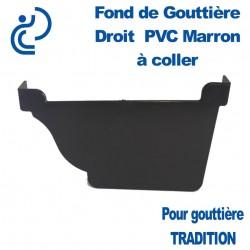 FOND DE GOUTTIERE DROIT A COLLER EN PVC MARRON POUR GOUTTIERE TRADITION