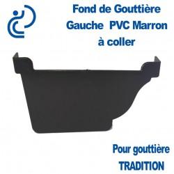 FOND DE GOUTTIERE GAUCHE A COLLER EN PVC MARRON POUR GOUTTIERE TRADITION