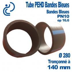 Tube PEHD Bandes Bleues Ø280 PN10 ep 16.6 Tronçonné à 140mm