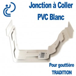 JONCTION A COLLER EN PVC BLANC POUR GOUTTIERE TRADITION