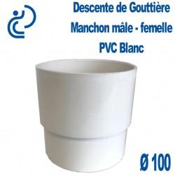 MANCHON GOUTTIERE PVC BLANC male femelle D100