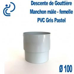 MANCHON GOUTTIERE PVC gris pastel D100 male femelle