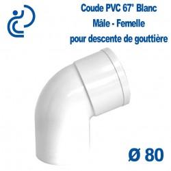 COUDE GOUTTIERE PVC BLANC 67° Mâle femelle