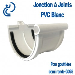 JONCTION PVC BLANC A JOINT POUR GOUTTIERE GD25