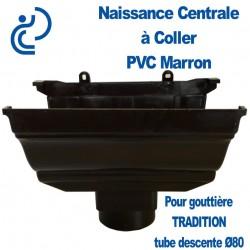NAISSANCE CENTRALE A COLLER EN PVC MARRON POUR GOUTTIERE TRADITION