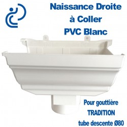 NAISSANCE DROITE A COLLER EN PVC BLANC POUR GOUTTIERE TRADITION
