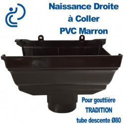 NAISSANCE DROITE A COLLER EN PVC MARRON POUR GOUTTIERE TRADITION