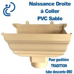 NAISSANCE DROITE A COLLER EN PVC SABLE POUR GOUTTIERE TRADITION