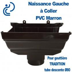 NAISSANCE GAUCHE A COLLER EN PVC MARRON POUR GOUTTIERE TRADITION