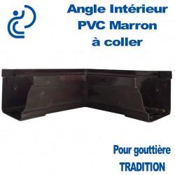 ANGLE INTERIEUR A COLLER EN PVC MARRON POUR GOUTTIERE TRADITION