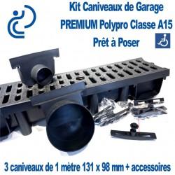 Kit Caniveaux de Garage PREMIUM A15 Polypro pret à poser (3 caniveaux de 1ml & accessoires)