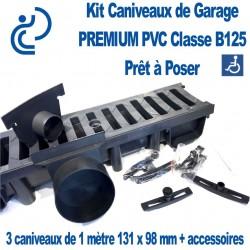Kit Caniveaux d'Entrée/Garage PREMIUM B125 PVC pret à poser (3 caniveaux de 1ml & accessoires)