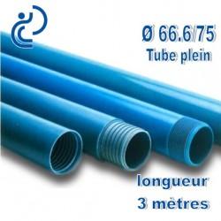 Tube Forage PVC 66.6/75 Plein A visser longueur 3ml