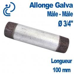 "ALLONGE GALVA Ø3/4"" longueur 100mm Mâle-Mâle"