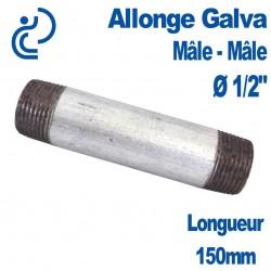 "ALLONGE GALVA Ø1/2"" longueur 150mm Mâle-Mâle"