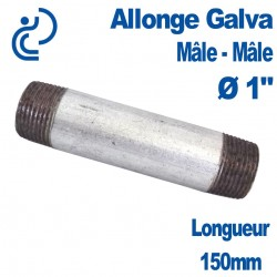 "ALLONGE GALVA Ø1"" longueur 150mm Mâle-Mâle"