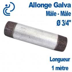 """ALLONGE GALVA Ø3/4"""" longueur 1 mètre Mâle-Mâle"""