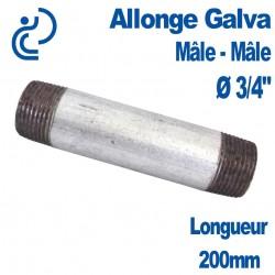 "ALLONGE GALVA Ø3/4"" longueur 200mm Mâle-Mâle"