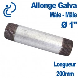 "ALLONGE GALVA Ø1"" longueur 200mm Mâle-Mâle"
