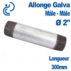 "ALLONGE GALVA Ø2"" longueur 300mm Mâle-Mâle"