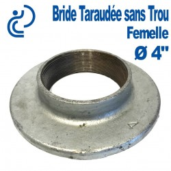 "Bride Galva de Plancher 4"" taraudée sans trou"