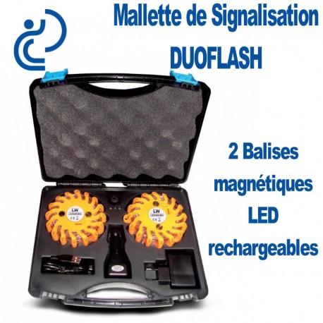 Mallette de signalisation DUOFLASH 2 Balises magnétiques Rechargeables