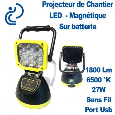 Projecteur de Chantier LED Magnétique Sur Batterie