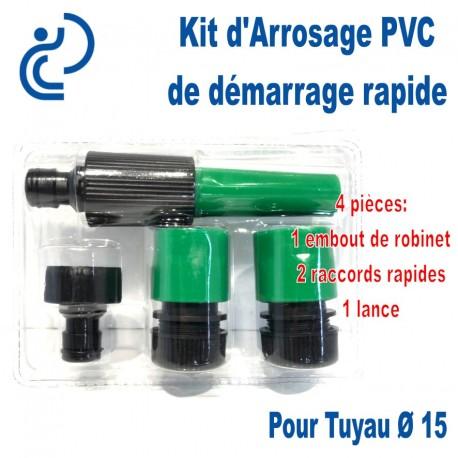 Kit d'arrosage de Démarrage Ø15 4 pièces (embout/2raccords/lance)