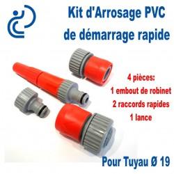 Kit d'arrosage de Démarrage Ø19 4 pièces (embout/2raccords/lance)