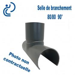Selle pvc D80 avec piquage à 90° D80 long de 200mm non collé