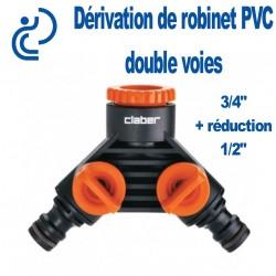"""Dérivation de Robinet PVC en 2 voies - 3/4"""" + réduction 1/2"""""""