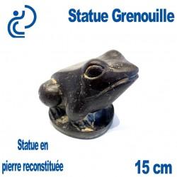 Statue Ornementale Grenouille Pierre Reconstituée 15cm