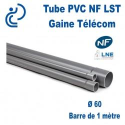 Tube PVC NF LST Ø60 Gaine Télécom longueur 1mètre