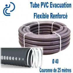 Tube PVC Évacuation Flexible Renforcé Ø40 en couronne de 25 mètres