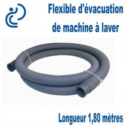 FLEXIBLE D'EVACUATION ANNELE 1m80 pour machine à laver