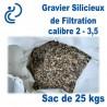 Gravier Silicieux de filtration Calibre 2 / 3,5 Sac de 25kg