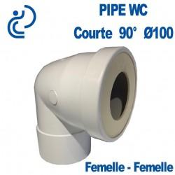 Pipe WC Coudée Courte D100 90° Femelle - Femelle